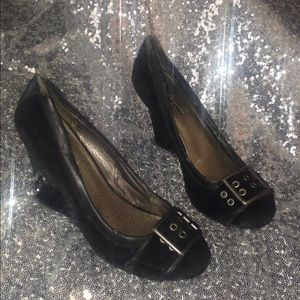 Black Suede Fergalicious by Fergie Wedges